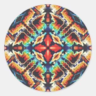 Verzierte geometrische Farben Runder Aufkleber