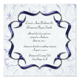 Verzierte helle lila und silberne Posten-Hochzeit Quadratische 13,3 Cm Einladungskarte