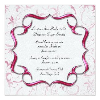 Verzierte helle rosa und silberne Posten-Hochzeit Quadratische 13,3 Cm Einladungskarte