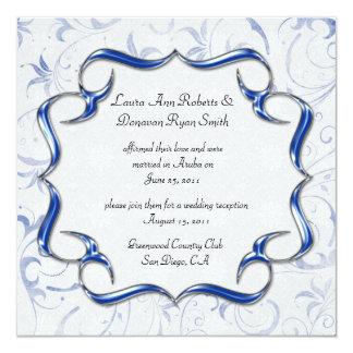Verzierte helle Silber-Posten-Hochzeit des Quadratische 13,3 Cm Einladungskarte