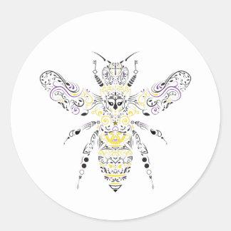 verzierte Honigbiene Runder Aufkleber