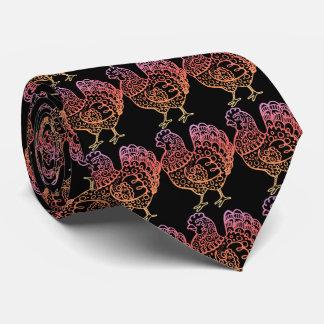 Verzierte Huhn-Linie Kunst Bedruckte Krawatten