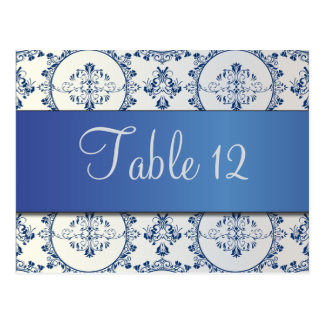 Verzierte Kreis-Damast-Saphir-Blau-Tischnummer Postkarte
