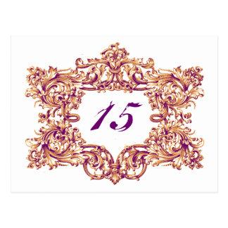 Verzierte orange u. violette Rahmen-Tischnummern Postkarte