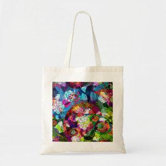 Verzierte u. bunte Retro Blumen-Tasche Budget Stoffbeutel