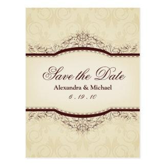 Verzierte Vintage Save the Date Postkarten