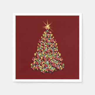 Verzierte Weihnachtsbaum-Feiertags-glänzende Papierserviette