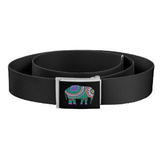 Verzierter Elefant-grafisches cooles Schwarzes Gürtel