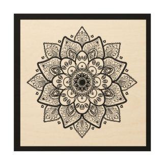 Verzierter eleganter schwarzer Mandala auf Weiß Holzdruck