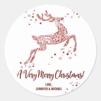 Verzierter frohe Weihnacht-runder Aufkleber des