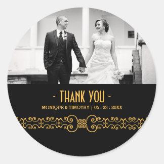 Verzierter Goldgurt - Goldschwarze Hochzeit danken Runder Aufkleber