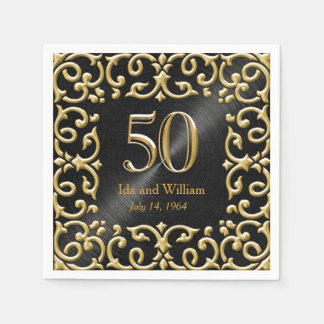 Verzierter Jahrestag des Goldrahmen-50. Serviette