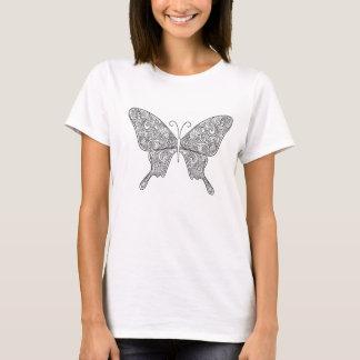 Verzierter Schmetterling in Schwarzweiss T-Shirt