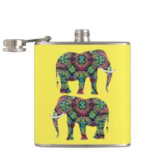 Verzierter verzierter indische Elefant-Entwurf Flachmann