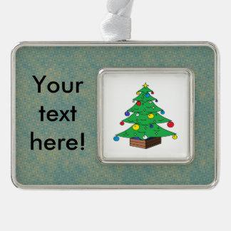 Verzierter Weihnachtsbaum-Cartoon Rahmen-Ornament Silber