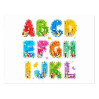 Verziertes ABC-Set, Buchstaben AL Postkarten