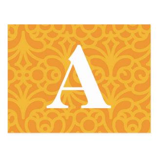 Verziertes Blumenmonogramm - beschriften Sie A Postkarte