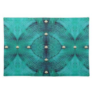 Verziertes Boden-Muster in den Aqua-Blues Tischset