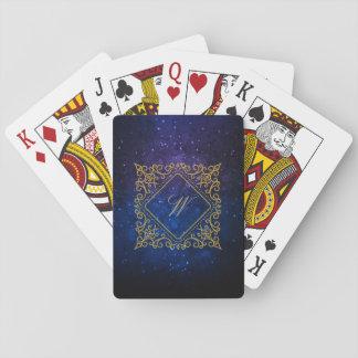 Verziertes Diamant-Monogramm auf blauer Galaxie Spielkarten