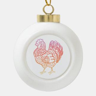 Verziertes Huhn Lineart Keramik Kugel-Ornament