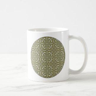 Verziertes Muster Browns und der Kaffeetasse