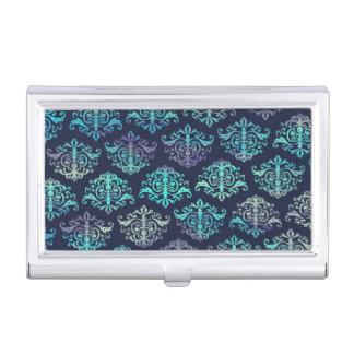 Verziertes Muster-- lila u. grüner Pfau-Damast Visitenkarten Etui