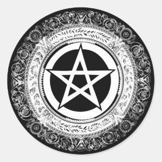 Verziertes Pentagramm Runder Aufkleber
