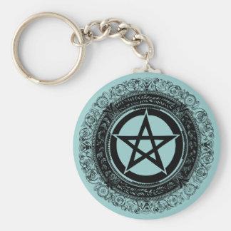 Verziertes Pentagramm Standard Runder Schlüsselanhänger