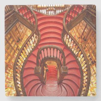 Verziertes rotes Treppenhaus, Portugal Steinuntersetzer