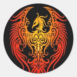Verziertes Stammes- Phoenix Runde Sticker