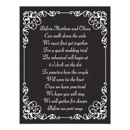 Verziertes Vintages Proben-Abendessen-Gedicht lädt Personalisierte Ankündigungskarte