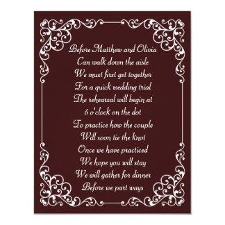 Verziertes Vintages Proben-Abendessen-Gedicht lädt 10,8 X 14 Cm Einladungskarte