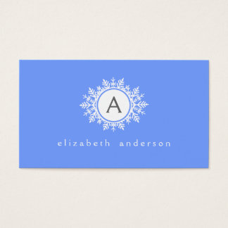 Verziertes weißes Schneeflocke-Monogramm auf Visitenkarte
