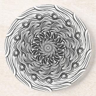 Verziertes Zen-Gekritzel-optische Illusion Sandstein Untersetzer