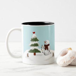 Verzierung der Baumsnowman-Tasse Zweifarbige Tasse