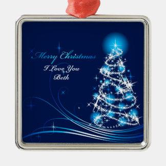Verzierung der frohen Weihnacht-10 Quadratisches Silberfarbenes Ornament