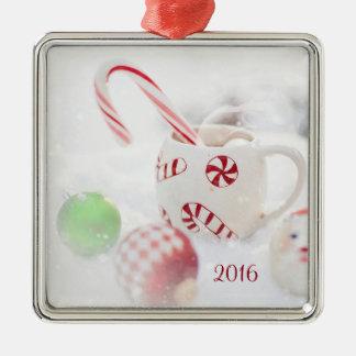 Verzierung des Weihnachten2016 Quadratisches Silberfarbenes Ornament