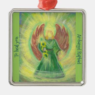 Verzierung: Erzengel-RAPHAEL Quadratisches Silberfarbenes Ornament