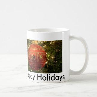 Verzierung, frohe Feiertage Kaffeetasse
