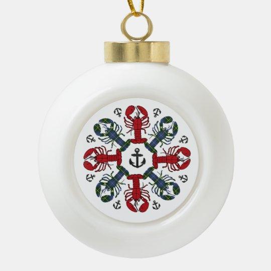 Verzierung Hummer-Schneeflocke-Anker N.S. Keramik Kugel-Ornament