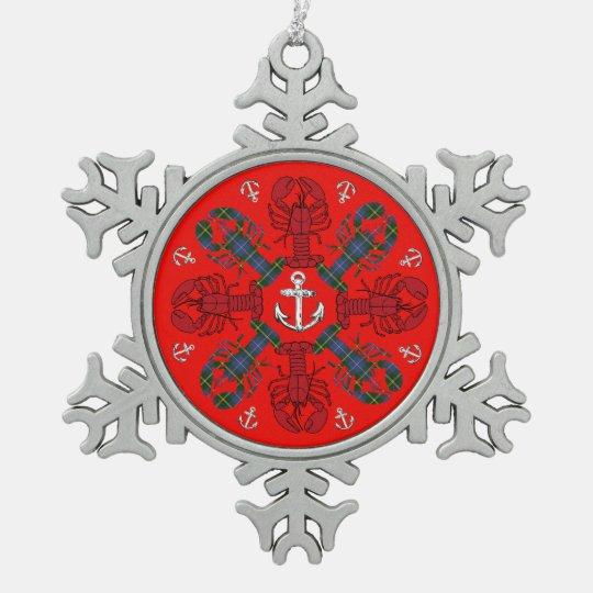 Verzierung Hummer-Schneeflocke-Anker N.S. Schneeflocken Zinn-Ornament