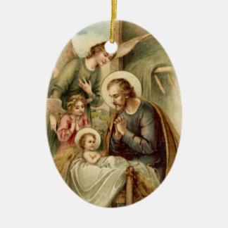 Verzierung: St- JosephGeburt Christi Keramik Ornament