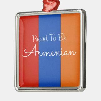 Verzierung | stolz, armenisch zu sein quadratisches silberfarbenes ornament
