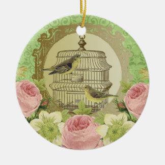 Verzierung… Vintage Rosen und Birdcage Ornament
