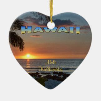 Verzierung: Waikoloa Sonnenuntergang #1 (Herz) Keramik Ornament