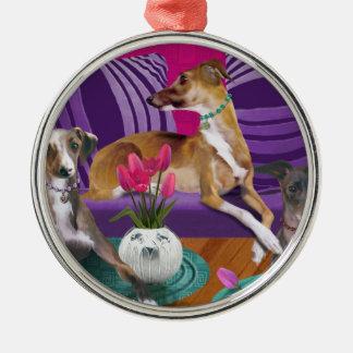 Verzierung, Windhundmotiv, Pink Silbernes Ornament