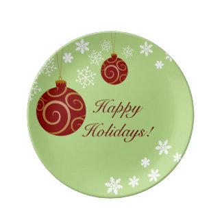 Verzierungen und Schneeflocke-frohe Feiertage Porzellanteller