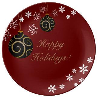 Verzierungen und Schneeflocke-frohe Feiertage Teller Aus Porzellan