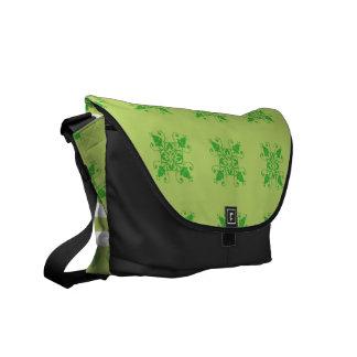 Verzierungs-Blumenstreifen des Bote-Taschengrüns Kuriertaschen