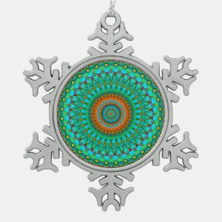Verzierungs-geometrische Mandala G388 Schneeflocken Zinn-Ornament